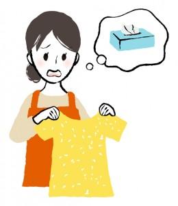 ティッシュを洗濯してしまった